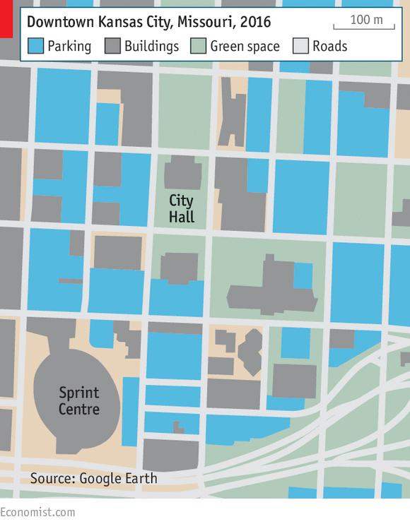 Bản đồ trung tâm thành phố Kansas (Nguồn: The Economist)