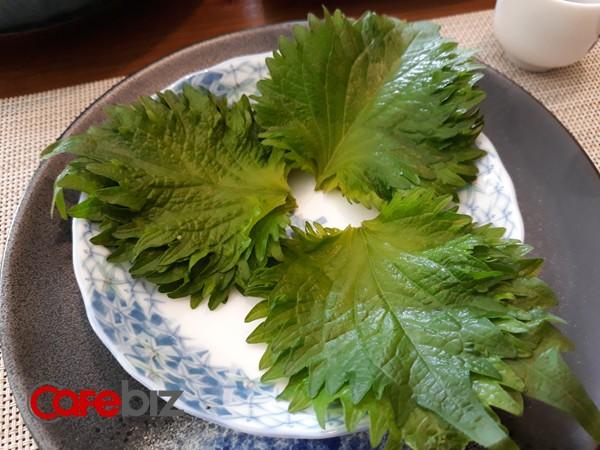 Những lá tía tô xanh được phục vụ kèm món Sashimi.