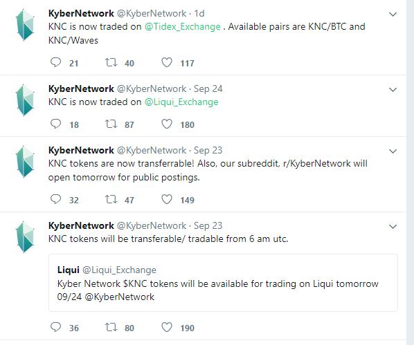 Kyber Network thông báo về việc niêm yết đồng tiền của mình chỉ vào cuối tuần trước