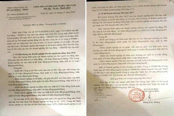 Báo cáo tiền lương năm 2016 của Sở LĐTB&XH tỉnh Nghệ An gửi Bộ LĐTB&XH.