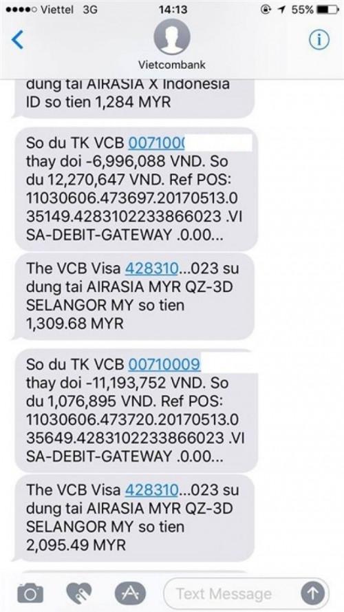 Chủ tài khoản Vietcombank nhận được tin nhắn thông báo tài khoản phát sinh 7 giao dịch, tổng số tiền bị mất hơn 30 triệu đồng.