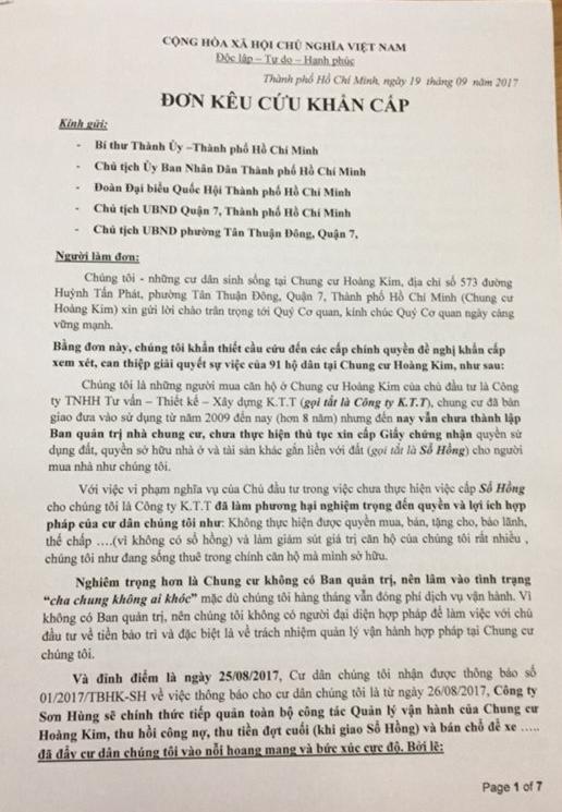 Đơn kêu cứu của các hộ dân ở chung cư Hoàng Kim (quận 7, TP.HCM).