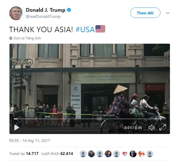 Hình ảnh Việt Nam xuất hiện đầu tiên trong video cảm ơn châu Á của Tổng thống Donald Trump - Ảnh 1.