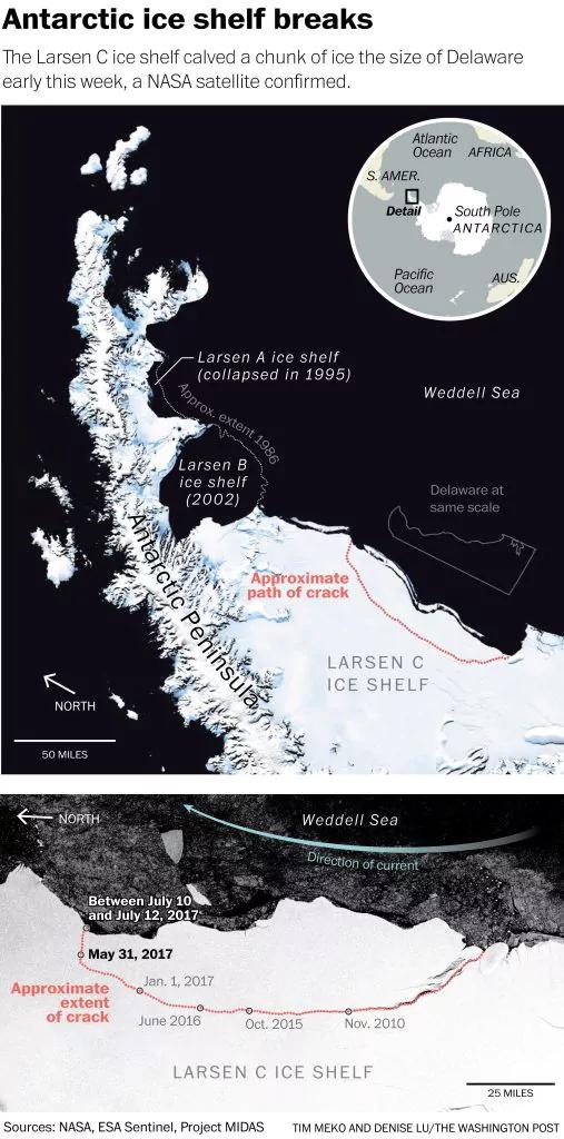 NASA đã chụp được núi băng trôi khổng lồ bị tách khỏi Nam Cực, đây là hình ảnh rõ nét về nó - Ảnh 1.