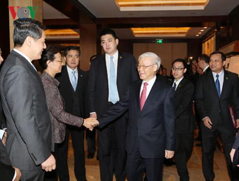 Tổng Bí thư cho biết, Việt Nam hoan nghênh các doanh nghiệp Trung Quốc đầu tư vào Việt Nam.