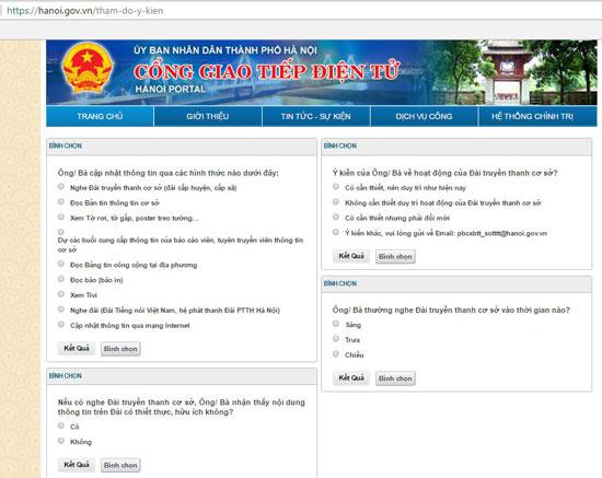 """Chuyên mục """"Lấy ý kiến về hệ thống thông tin cơ sở trên địa bàn thành phố Hà Nội"""" trên Cổng giao tiếp điện tử Hà Nội."""