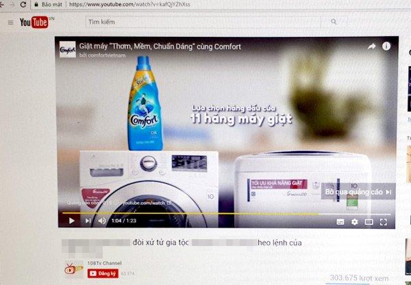 Quảng cáo Comfort xuất hiện bằng tiếng Việt trong video clip phản động bôi xấu hình ảnh lãnh đạo Đảng và nhà nước của Việt Nam. (ảnh chụp màn hình).