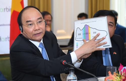 Thủ tướng dùng hình ảnh đôi giày để minh họa lợi nhuận của các nhà đầu tư Mỹ tại Việt Nam. Ảnh: VGP/Quang Hiếu