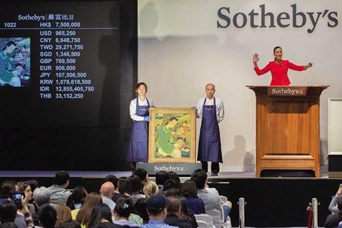 Cuộc sống gia đình – tranh Lê Phổ, đạt mức giá 965.260 USD (cả phí và thuế là 1.171.160 USD) tại nhà Sotheby's Hong Kong ngày 2/4/2017
