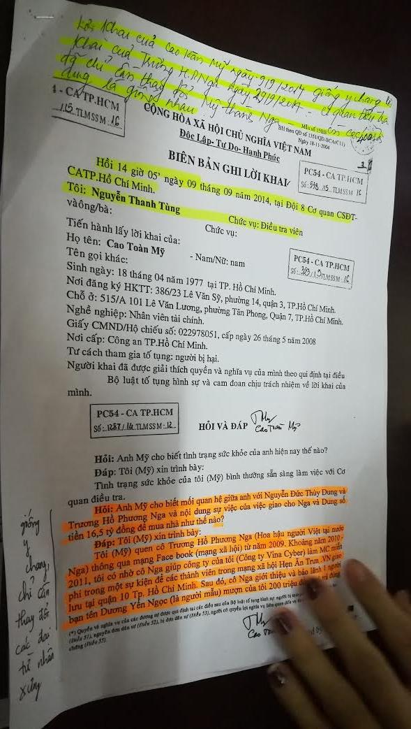 Biên bản của luật sư đưa ra về lời khai của 2 bị cáo