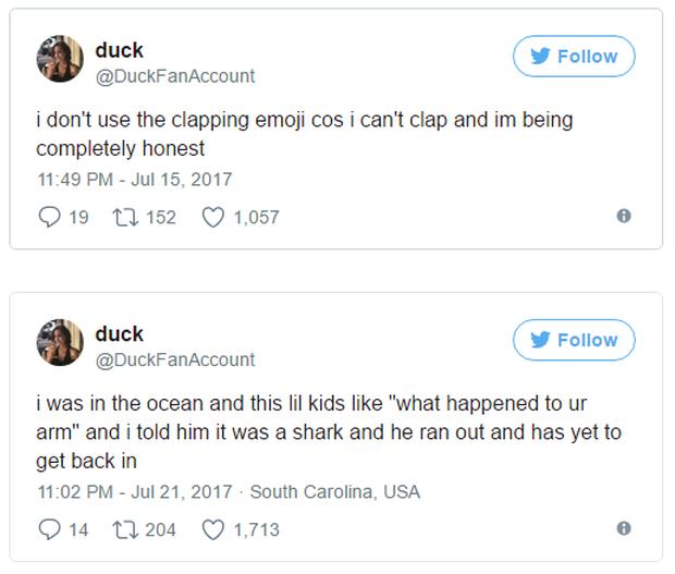 Tôi không sử dụng emoji vỗ tay bởi vì tôi không thể vỗ tay, tôi thề hay Tôi đang đi trên biển thì một vài cậu nhóc hỏi: Có chuyện gì với tay chị vậy và tôi nói chúng rằng đó là một con cá mập, sau đó thằng nhóc chạy biến và không quay lại nữa.