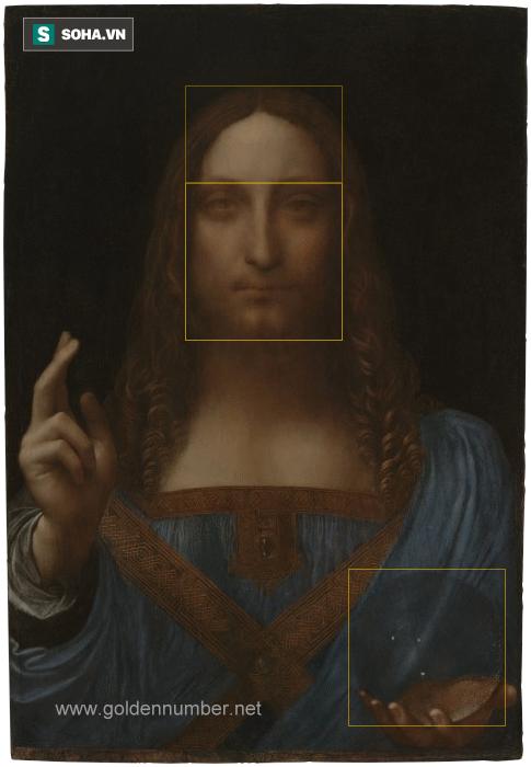 Salvator Mundi là bức tranh vẽ chúa Jesus đang giơ tay phải ban phước còn tay trái cầm một quả cầu pha lê. Ảnh Goldennumber.net.