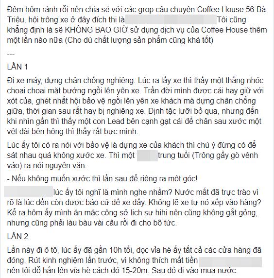 Đồ uống, phục vụ đều chất lượng nhưng chính đội ngũ giữ xe ở The Coffee House Bà Triệu đã khiến khách hàng thất vọng - Ảnh 2.
