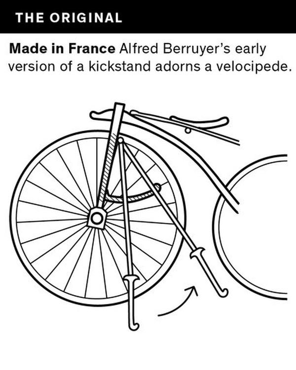 Alfred Berruyer và bản thiết kế chân chống bên trái xe của mình