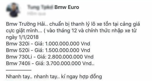 Lô xe BMW từng bị ngừng thông quan bất ngờ được rao bán với giá từ 1 tỷ đồng  - Ảnh 1.
