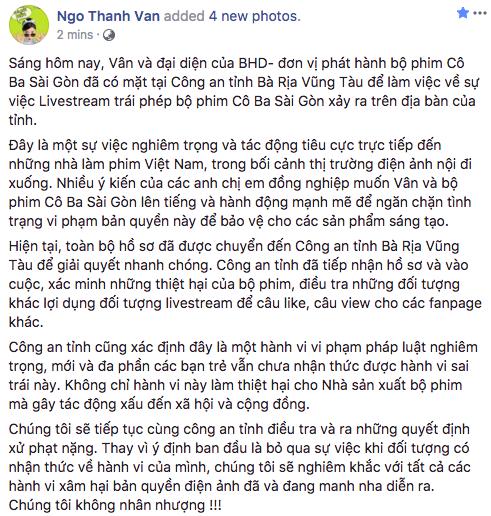 Ngô Thanh Vân quyết không nhân nhượng, mời công an vào cuộc xử lý hành vi livestream lậu phim Cô Ba Sài Gòn - Ảnh 2.