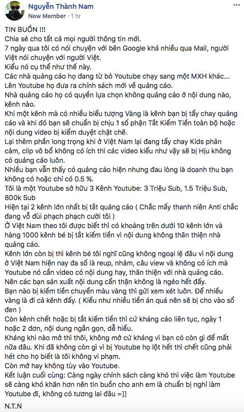 Chia sẻ của Nguyễn Thành Nam trên Facebook về chính sách quảng cáo mới của Youtube