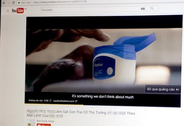Quảng cáo sản phẩm Vaseline trong video YouTube có nội dung bôi xấu hình ảnh lãnh đạo Việt Nam. (Ảnh chụp màn hình).