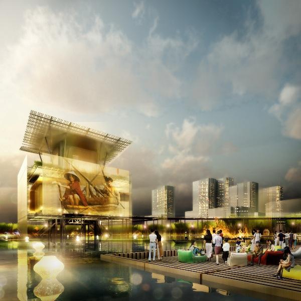 Quần thể công trình tổ chức thành 3 khu gồm nhà hát, sân khấu ngoài trời, nhà để xe đều nổi trên cao, nhường không gian mặt nước và cây xanh cho công viên.