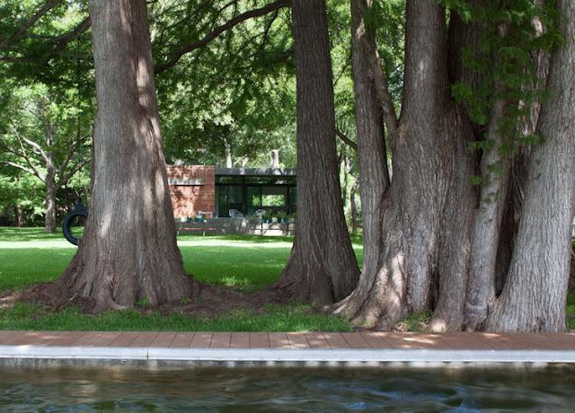 Cách không xa là hồ nước trong vắt. Quanh hồ có một lối đi bộ được lát gạch sạch sẽ.