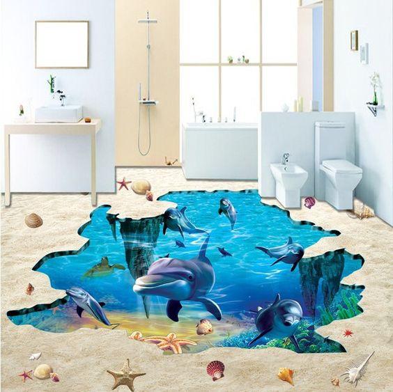Không cần phải đi đâu xa, những sàn nhà theo phong cách 3D này đem lại cho bạn một cảm giác như đang được đi chơi biển thư giãn thật sự.