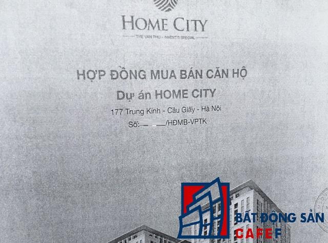 Hợp đồng mua bán ghi rõ địa chỉ dự án Home City tại số 177 Trung Kính.