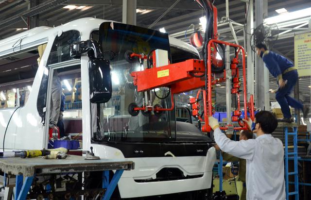 Bên trong nhà máy Thaco Bus, các sản phẩm xe bus mang thương hiệu Thaco đạt tỷ lệ nội địa hóa trên 50%