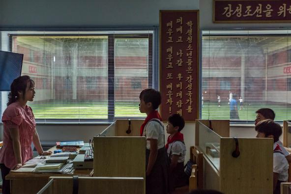 Một lớp học ở trường Bóng đá quốc tế Bình Nhưỡng, nơi đào tạo những cầu thủ tương lai của nước này