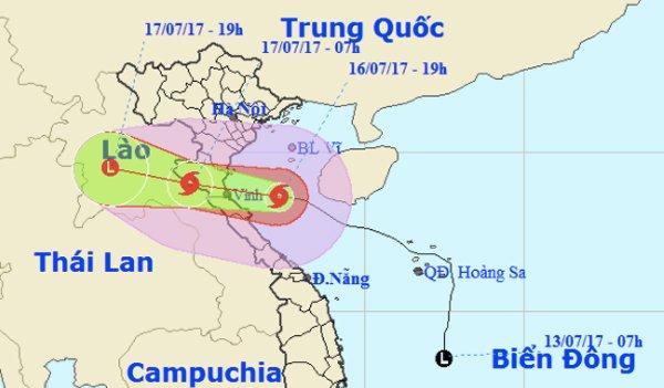 Dự báo thời tiết : Bão só 2 đang áp sát bờ biển Thanh Hoá - Hà Tĩnh. Ảnh: NCHMF