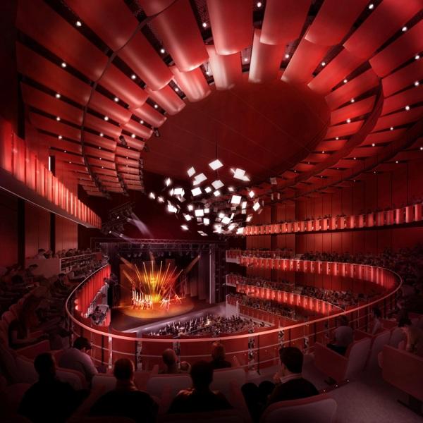 Công trình chính tổ chức hợp khối, phòng hoà nhạc cổ điển bố trí trên phòng biểu diễn đa chức năng.