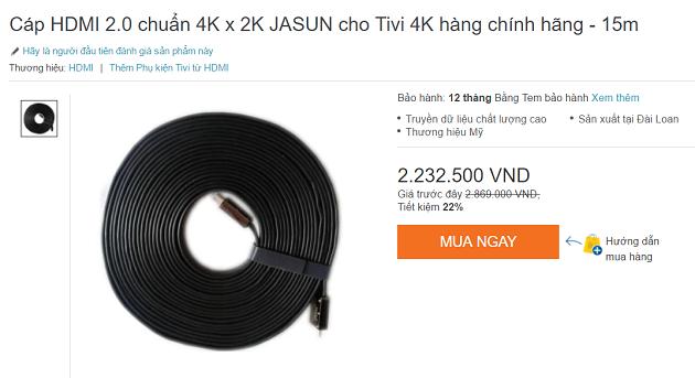 Một sợi cáp HDMI 2.0 có giá hơn 2 triệu đồng