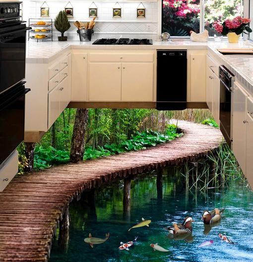 Nhờ công nghệ phủ trong suốt, bề mặt sàn láng bóng, cho phép nhìn thấy những hình ảnh trang trí, màu sắc nổi bật và hình ảnh trên sàn nhà như thật.
