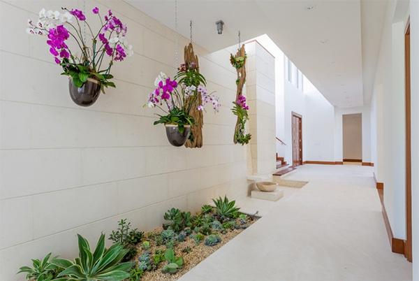 Với những ngôi nhà có diện tích rộng bạn cũng có thể tạo một khu vườn nhỏ ngay lối đi như thế này.