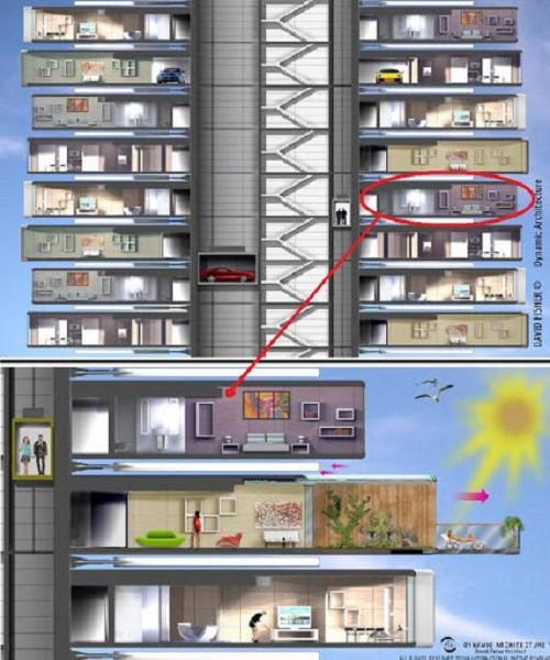 Không chỉ độc đáo, Dynamic Tower còn rất chú trọng đến tiện nghi sử dụng, tiện nghi môi trường trong và ngoài công trình.