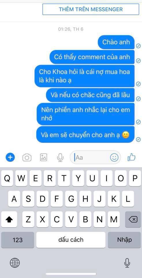 Sau khi đọc được bài đăng tố mình quỵt tiền, shark Khoa đã nhắn tin ngay cho Facebook L.D.L