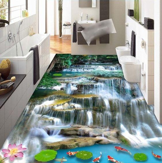 Sàn nước 3D độc đáo này có thể thay thế thảm trải sàn thông thường hay gạch phòng tắm với phong cảnh những dòng suối, dòng thác, đại dương, hay một mặt hồ yên tĩnh với sóng gợn lăn tăn.
