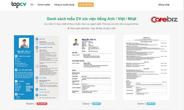 Giao diện trang chủ website topcv.vn