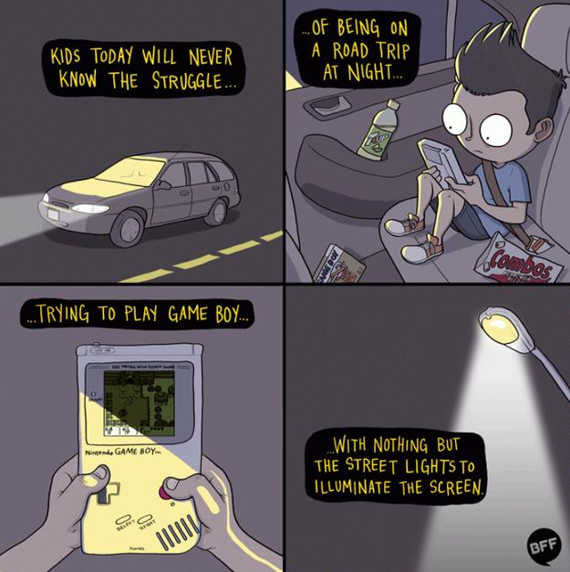 Chơi điện tử ngày xưa là đúng nghĩa hại mắt, khi mà đến GameBoy đẳng cấp cũng chả có đèn nề.