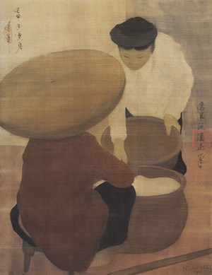 Người buôn gạo – tranh lụa Nguyễn Phan Chánh