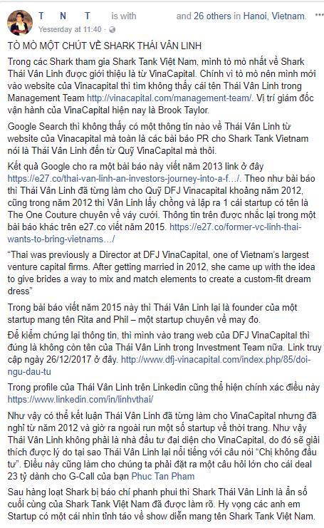 Cộng đồng khởi nghiệp Việt Nam đặt nghi vấn: Shark Linh có thực sự đến từ VinaCapital? - Ảnh 1.