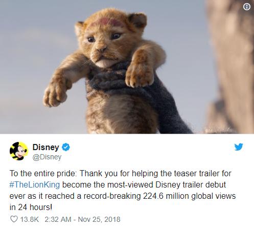 the lion king remake - photo 1 15432181416751133032817 - Vượt mặt Infinity War, 'The Lion King' remake trở thành trailer được xem nhiều nhất của Disney trong 24 giờ