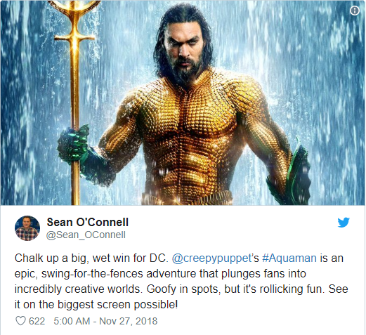 Aquaman được ca ngợi là bom tấn siêu anh hùng DC xuất sắc nhất từ trước tới nay - Ảnh 1.