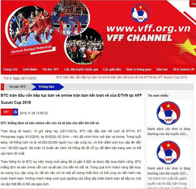 Nóng: VFF khẳng định chưa hết vé online, hệ thống vẫn tiếp tục mở bán - Ảnh 1.