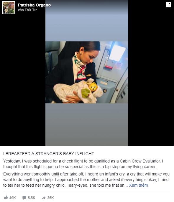 Hình ảnh Nữ tiếp viên hàng không cho em bé bú vì mẹ bé không mang theo sữa gây tranh cãi trên MXH - Ảnh 1.