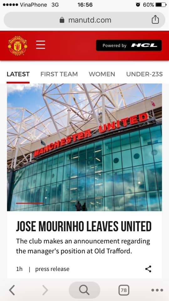 Nóng: Manchester United chính thức sa thải HLV Jose Mourinho - Ảnh 1.