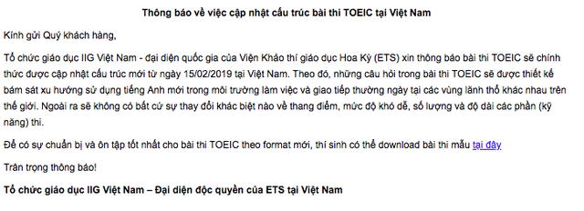Infographic: Tất tần tật những điểm mới trong đề thi TOEIC được áp dụng tại Việt Nam từ 15/02/2019 - Ảnh 1.