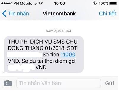 Phí SMS – Banking Vietcombank tăng lên 11.000 đồng: Chỉ là tin nhắn lỗi - Ảnh 1.