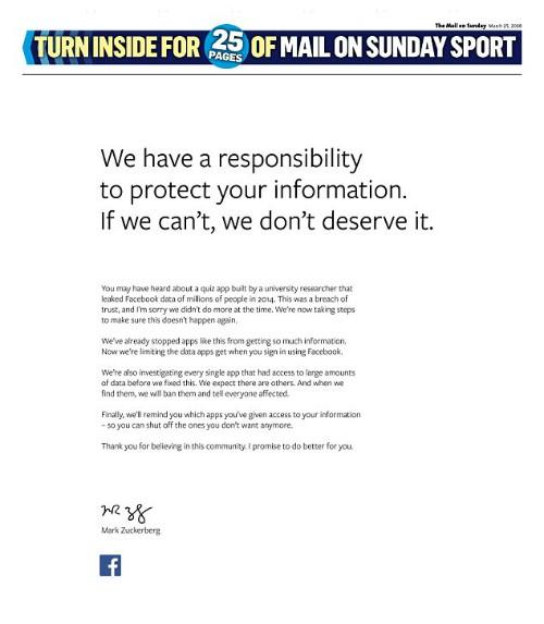 Xin lỗi kiểu Facebook: Mua quảng cáo full trang 9 tờ báo lớn ở cả Anh và Mỹ chỉ để viết 162 chữ - Ảnh 1.