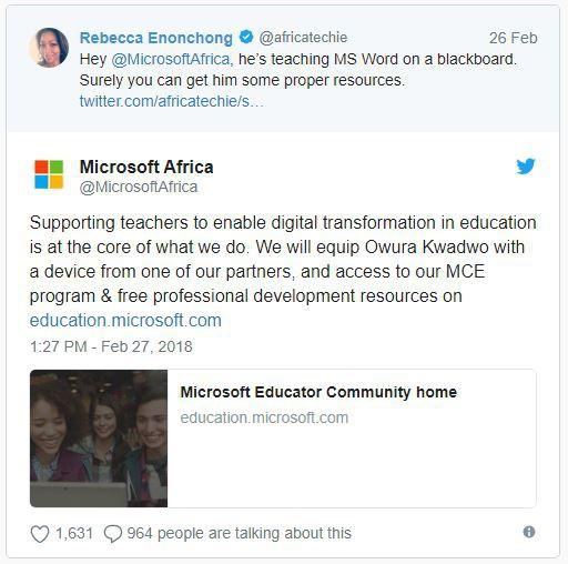 Đăng ảnh dạy MS Word bằng cách vẽ hình, thầy giáo châu Phi nổi tiếng trên Internet, được Microsoft tặng máy tính - Ảnh 2.
