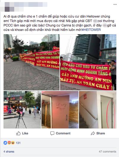 Hà Nội: Cư dân chung cư Hei Tower căng băng rôn phản ánh Trill Group vi phạm an toàn cháy nổ, chủ nhà hàng nói gì? - Ảnh 1.